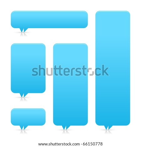 Blue blank speech bubble dialog with shadow and reflection on white background