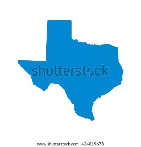Blue blank Texas map. Vector illustration, EPS10.