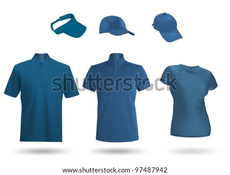 Blue blank unisex uniform template: polo, t-shirt, visor and baseball caps.