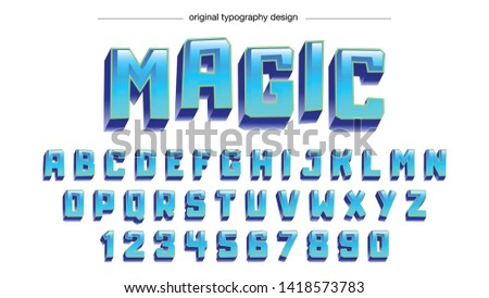Blue Bold Cartoon Typography Design