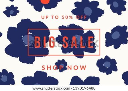 Blue bold floral blossoms and sample text in red on white background. Creative and modern promotional banner, sale brochure, newsletter template, social media post.