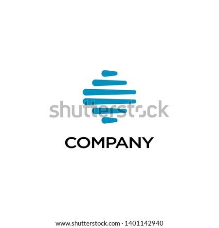 Blue bold round logo. Blue bold round icon.