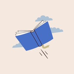 Blue book flying in the clouds. Read more books concept. Hand drawn educational Vector illustration. Cartoon modern style. Poster or print template
