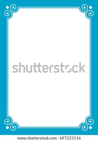 Blue border frame book cover vector vintage background