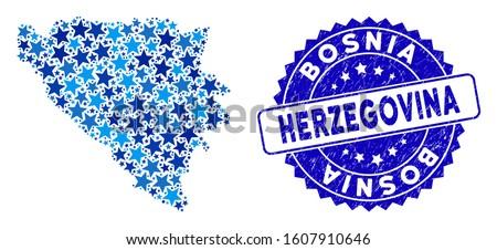 blue bosnia and herzegovina map