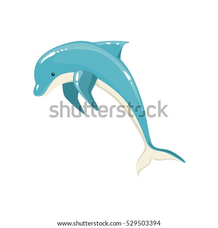blue bottlenose dolphin jumping