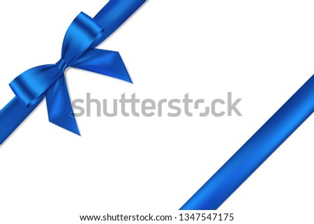Blue bow realistic shiny satin and ribbon place on corner of paper with shadow for decorate your wedding card,website or gift card,vector EPS10 isolated on white background.