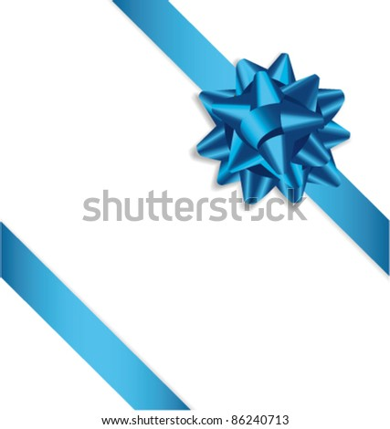 Blue bow ribbon. Vector