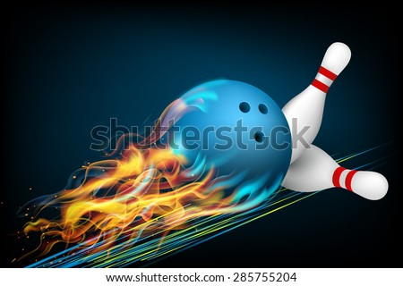 blue bowling ball in flames on