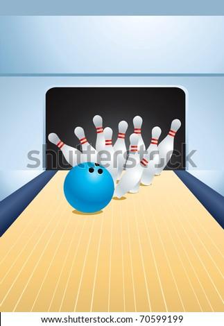 Blue bowling ball smashing pins