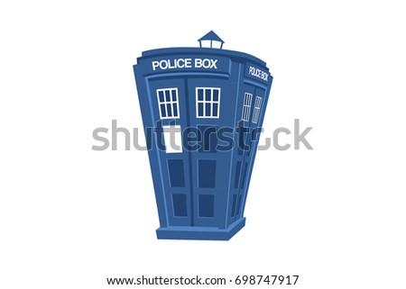 blue british police box cartoon