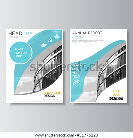 Blue brochure template, annual report cover. Leaflet design. Flyer layout. Magazine cover, brochure design. Leaflet layout. Presentation template, corporate identity. Vector business center photo