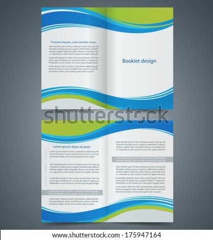 Blue brochure template design with green elements, layout business brochure, flyer template, booklet