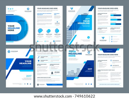 Blue brochures annual reports flyers design templates set, vector abstract flat background with logo design.