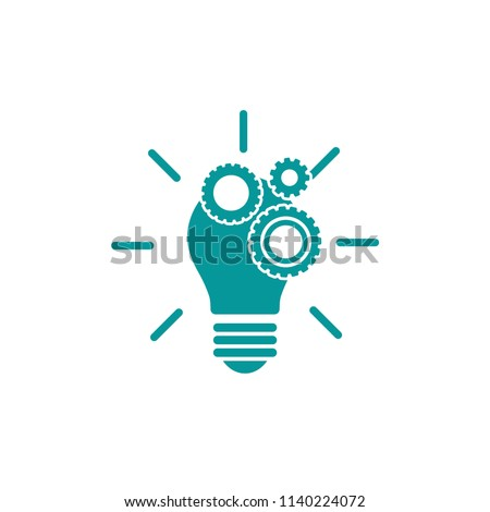 Blue bulb with gears and rays flat icon. Isolated on white. New business idea. New technology or idea. Design thinking. Vector illustration. Knowledge. Creative
