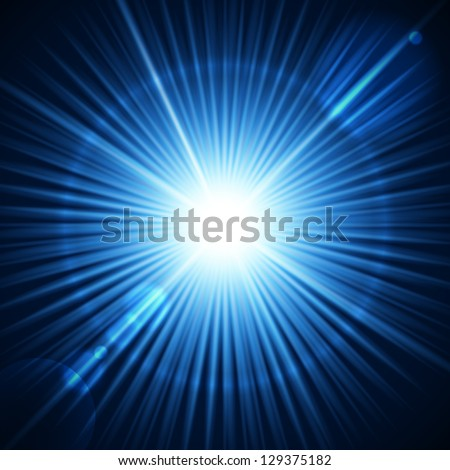 Blue burst with flare. Vector illustration for your design. - stock vector