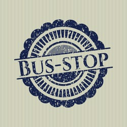 Blue Bus-stop rubber grunge stamp