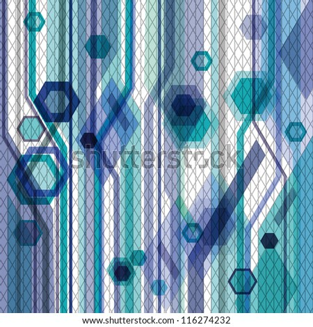 Blue business abstract background with hexagons, lines and nets. Eps10