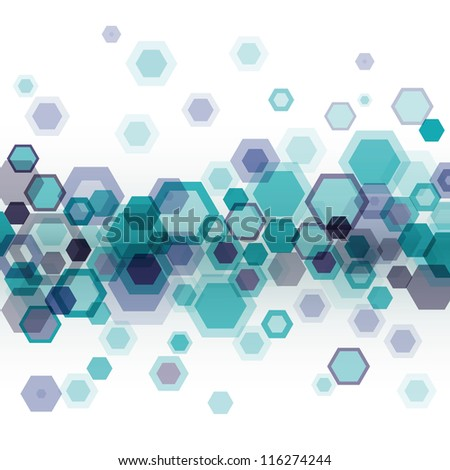 Blue business abstract geometrical background with horizontally arranged hexagons over white. Eps10