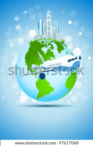 Blue Business Background with Modern City Earth and Aircraft
