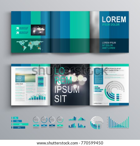 Blue business brochure template design with vertical shapes. Cover layout and info graphics