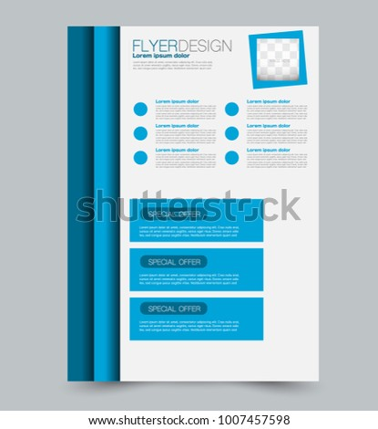 Blue business flyer. a4 pribtable poster or brochure. Vector illustration. Blue color.