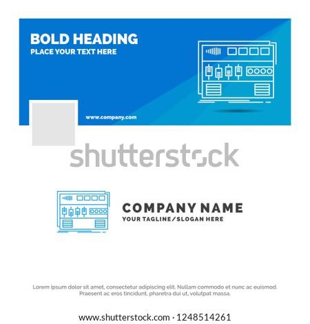 Blue Business Logo Template for Audio, mastering, module, rackmount, sound. Facebook Timeline Banner Design. vector web banner background illustration