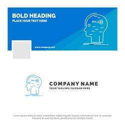 Blue Business Logo Template for brain, hack, hacking, key, mind. Facebook Timeline Banner Design. vector web banner background illustration