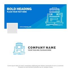 Blue Business Logo Template for business, marketplace, organization, data, online market. Facebook Timeline Banner Design. vector web banner background illustration
