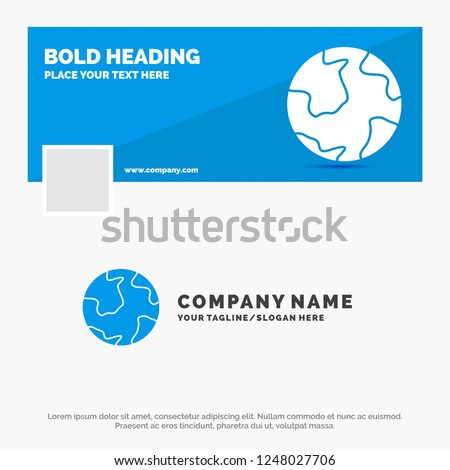 Blue Business Logo Template for earth, globe, world, geography, discovery. Facebook Timeline Banner Design. vector web banner background illustration