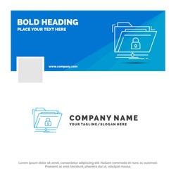 Blue Business Logo Template for encryption, files, folder, network, secure. Facebook Timeline Banner Design. vector web banner background illustration