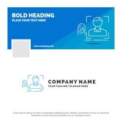 Blue Business Logo Template for finger, fingerprint, recognition, scan, scanning. Facebook Timeline Banner Design. vector web banner background illustration