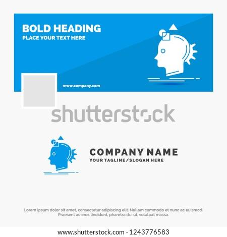 Blue Business Logo Template for Imagination, imaginative, imagine, idea, process. Facebook Timeline Banner Design. vector web banner background illustration
