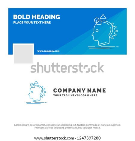 Blue Business Logo Template for Imagination, imaginative, imagine, idea, process. Facebook Timeline Banner Design. vector web banner background illustration