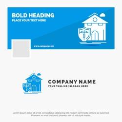 Blue Business Logo Template for insurance, home, house, casualty, protection. Facebook Timeline Banner Design. vector web banner background illustration