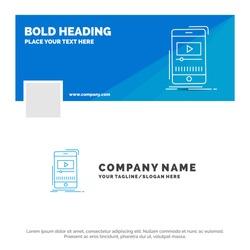 Blue Business Logo Template for media, music, player, video, mobile. Facebook Timeline Banner Design. vector web banner background illustration
