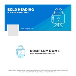 Blue Business Logo Template for Security, cyber, lock, protection, secure. Facebook Timeline Banner Design. vector web banner background illustration