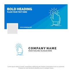 Blue Business Logo Template for touch, click, hand, on, start. Facebook Timeline Banner Design. vector web banner background illustration