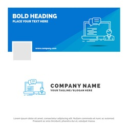 Blue Business Logo Template for training, course, online, computer, chat. Facebook Timeline Banner Design. vector web banner background illustration