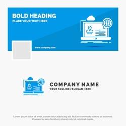 Blue Business Logo Template for webinar, forum, online, seminar, website. Facebook Timeline Banner Design. vector web banner background illustration