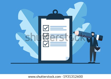 blue Business man with Business man bag a giant pencil on his shoulder nearby marked checklist on a clipboard paper. Successful completion