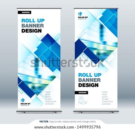Blue Business Roll Up Banner. Abstract Roll up background for Presentation. Vertical roll up, x-stand, exhibition display, Retractable banner stand or flag design layout for conference, forum.