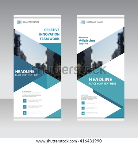 Blue Business Roll Up Banner flat design template ,Abstract blue Geometric banner design Vector illustration template set,