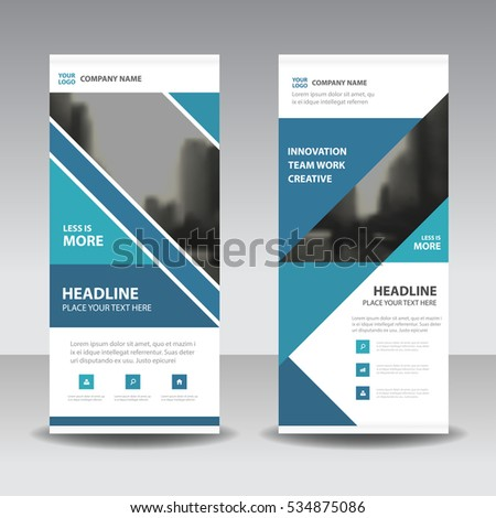 Blue Business Roll Up Banner flat design template ,Abstract Geometric banner  Vector illustration set, abstract presentation brochure flyer vertical vector #534875086