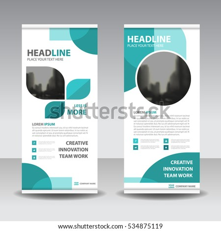 Blue Business Roll Up Banner flat design template ,Abstract Geometric banner  Vector illustration set, abstract presentation brochure flyer vertical  vector #534875119