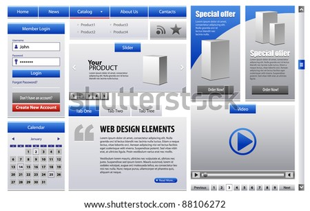 Blue Business Web Design Elements Version 2: Menu, Navigation Bar, Slider, Banners, Video Player, Calendar, Tabs, Login Form, Scroller, Pagination