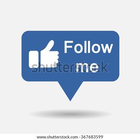 Blue Button Follow me isolated counter notification  Vector Logo, JPG, JPEG, EPS. Icon Button.Flat Social Media Sign