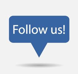 Blue Button Follow us isolated counter notification  Vector Logo, JPG, JPEG, EPS. Icon Button.Flat Social Media Sign