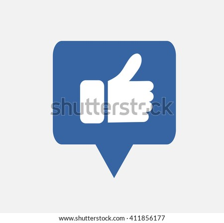 blue button hand like icon