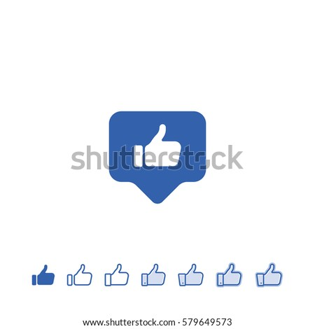 Blue button hand with thumb finger up. Like social icon.